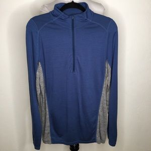 Ibex Mens Wool Pullover Thermal Size M Blue Gray